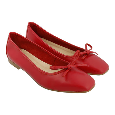 Leather Ballet Flats (Red)