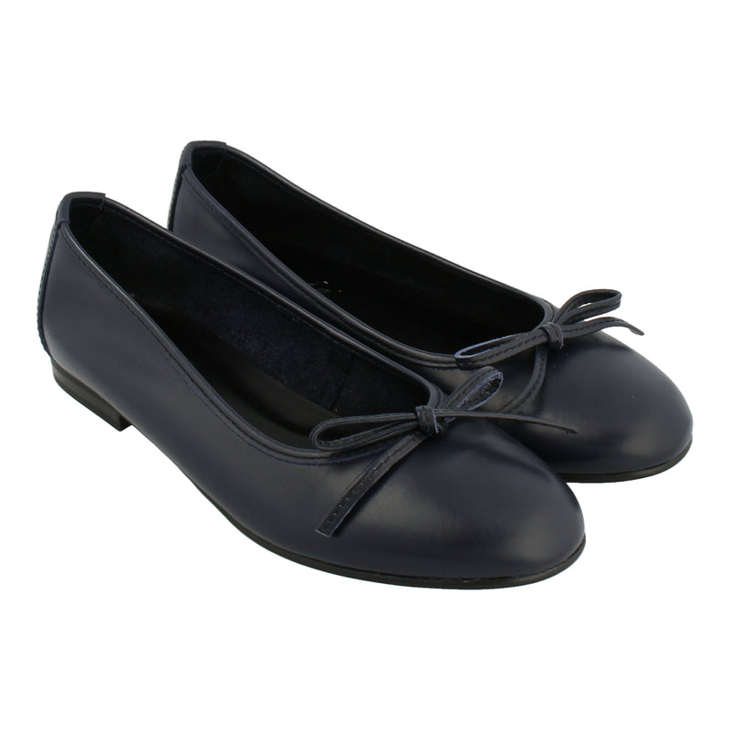 Leather Ballet Flats (Blue)