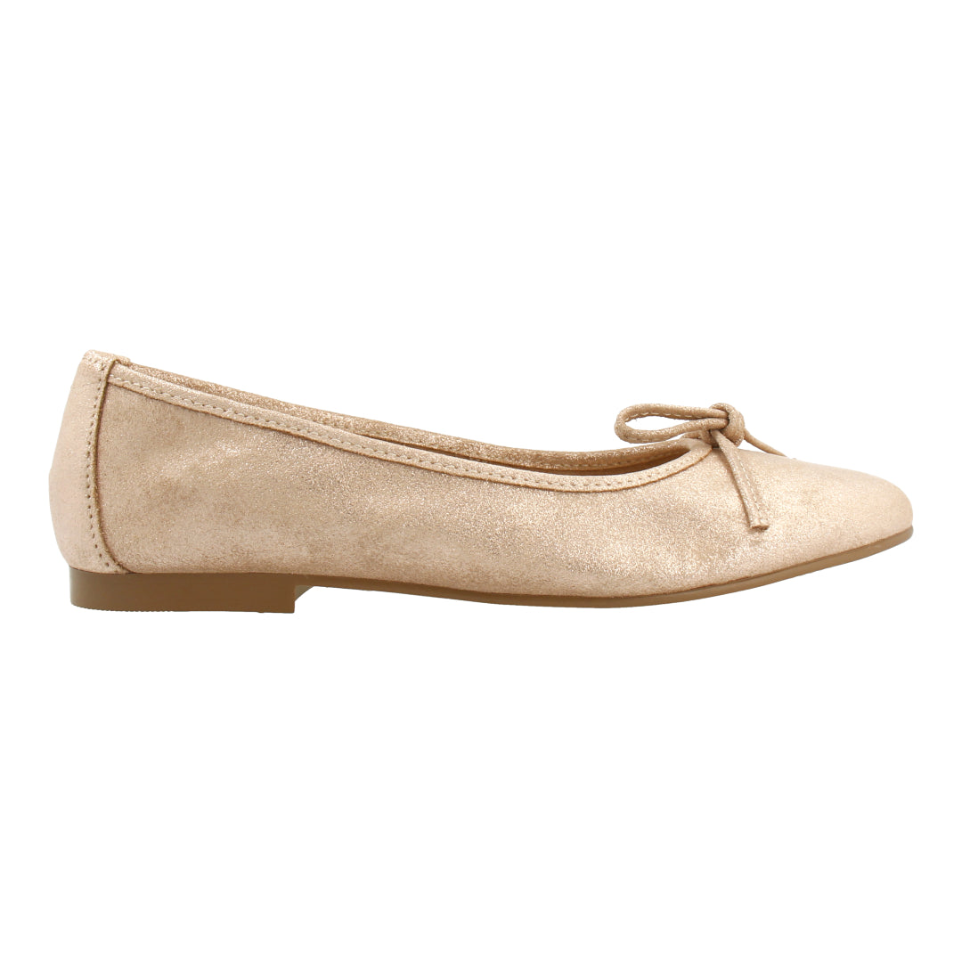 Leather Ballet Flats (Glitter Nude)