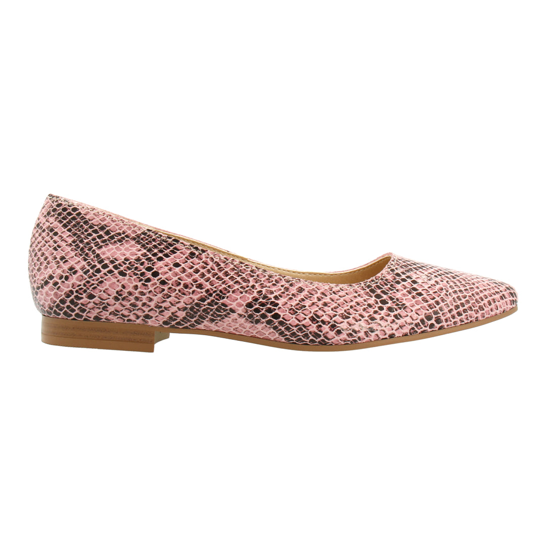 Python-effect Leather Flats (Pink)