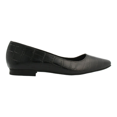 Croco-embossed Leather Flats (Black)
