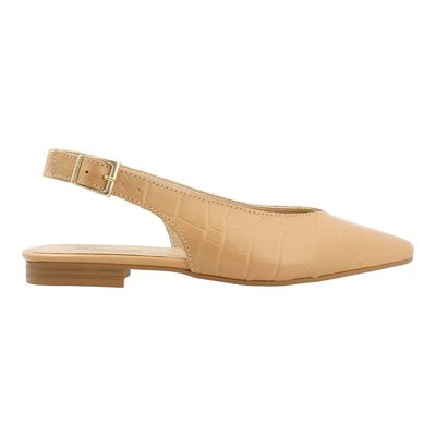 Croco-embossed Leather Slingback Flats (Nude)