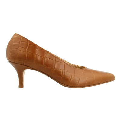Croco-embossed Leather Pumps (Tan)
