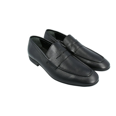 Leather Moccasins with Penny Strap (Black)