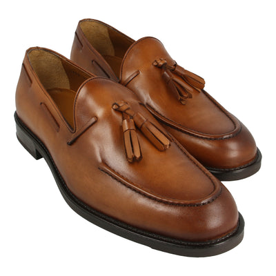 Leather Moccasins with Tassel (Brown)