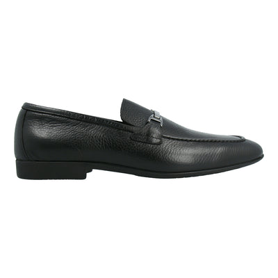 Leather Moccasins with Metal Buckle (Black)