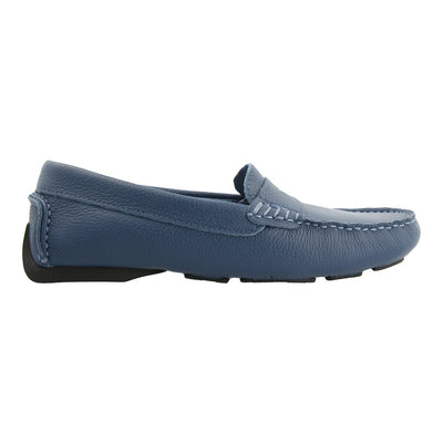 Leather Loafer with Penny Bar (Lavender Blue)