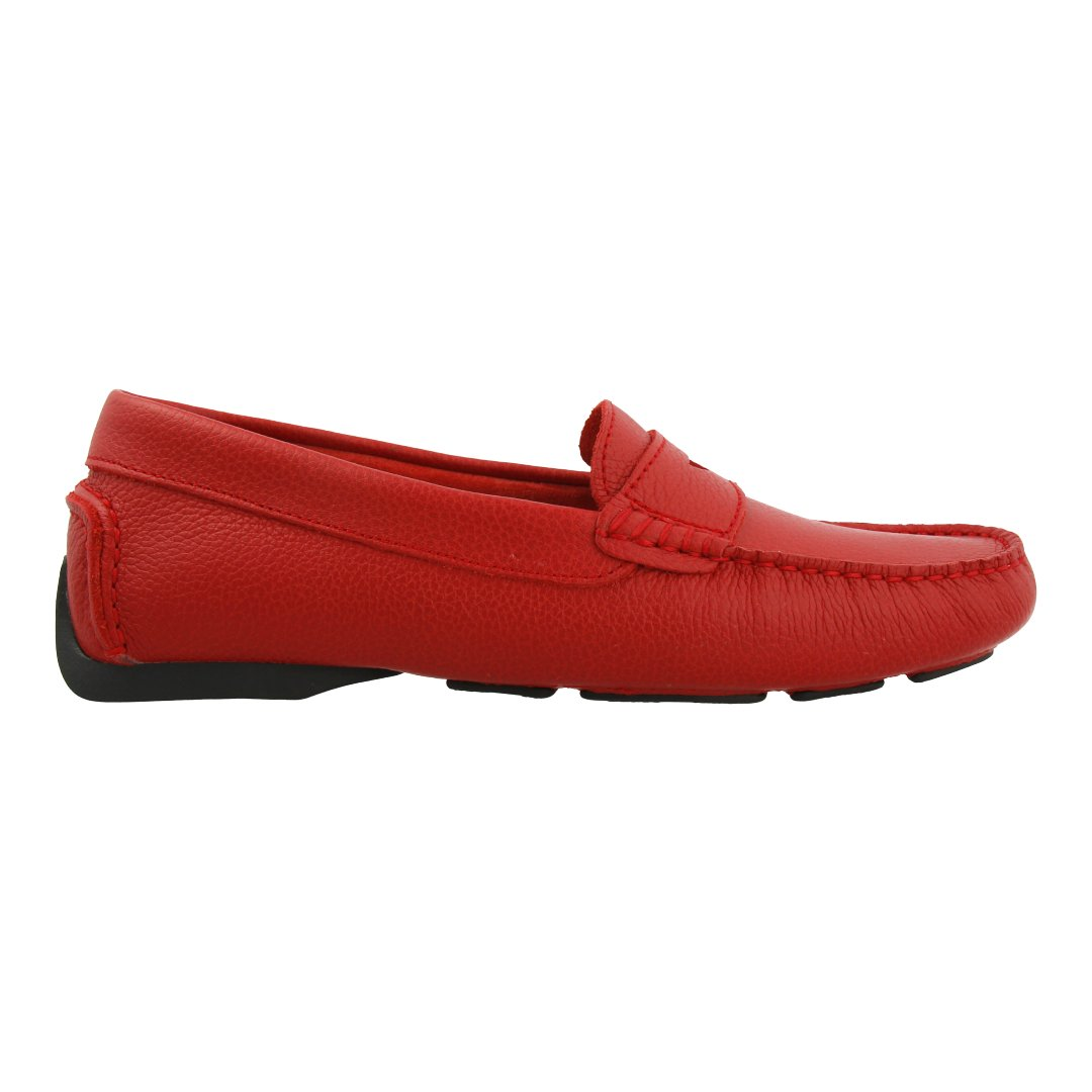 Leather Loafer with Penny Bar (Burgundy)