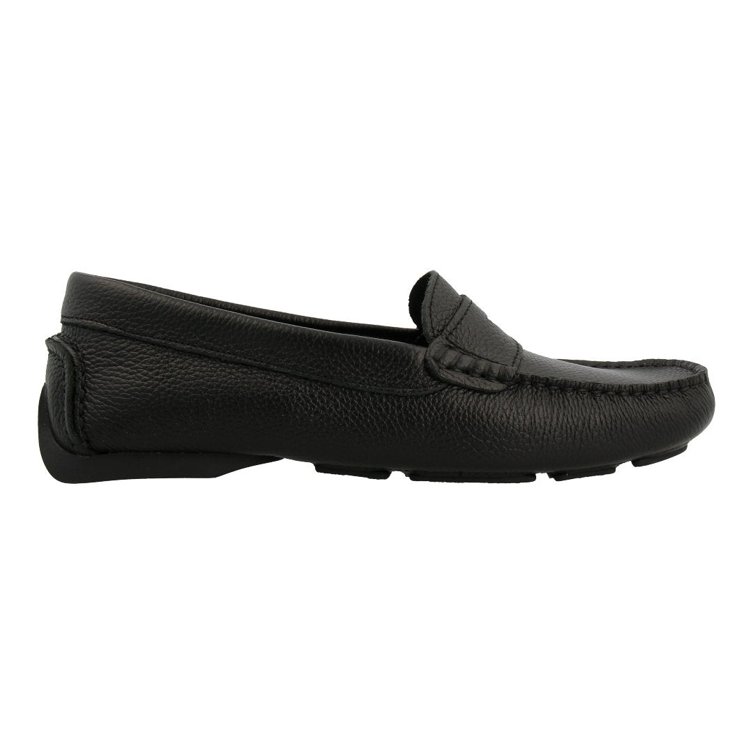 Leather Loafer with Penny Bar (Black)