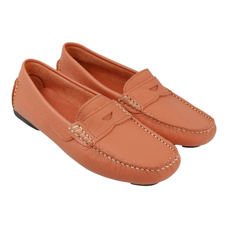Leather Loafer with Penny Bar (Coral)