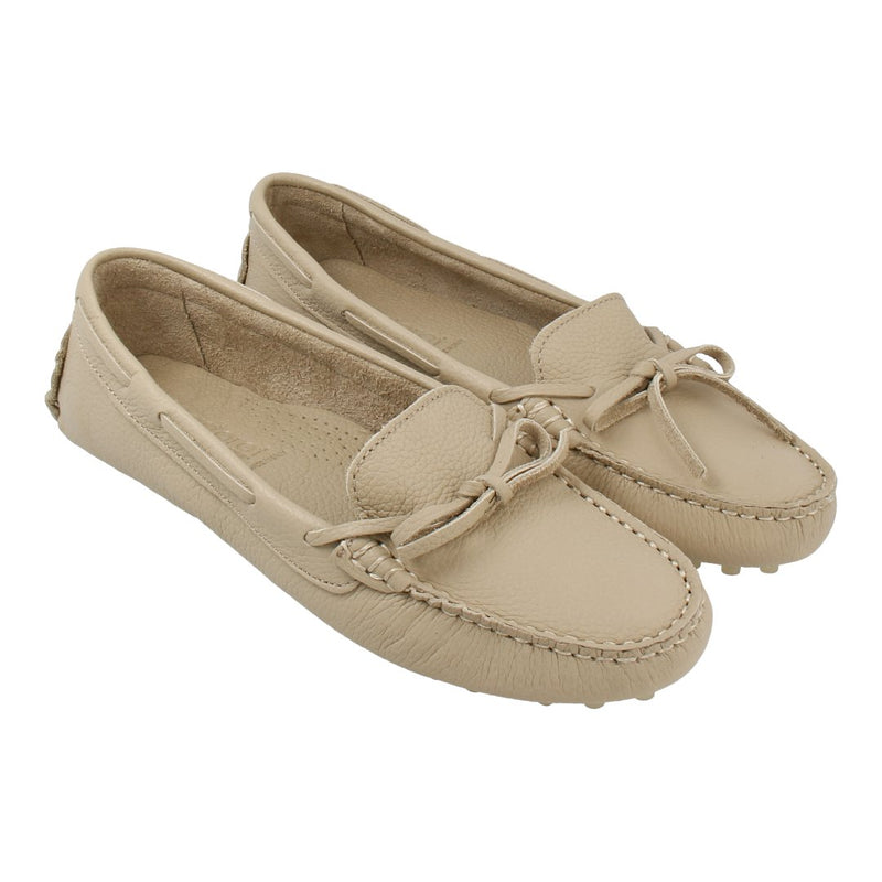 Leather Loafer with Bow (Taupe)