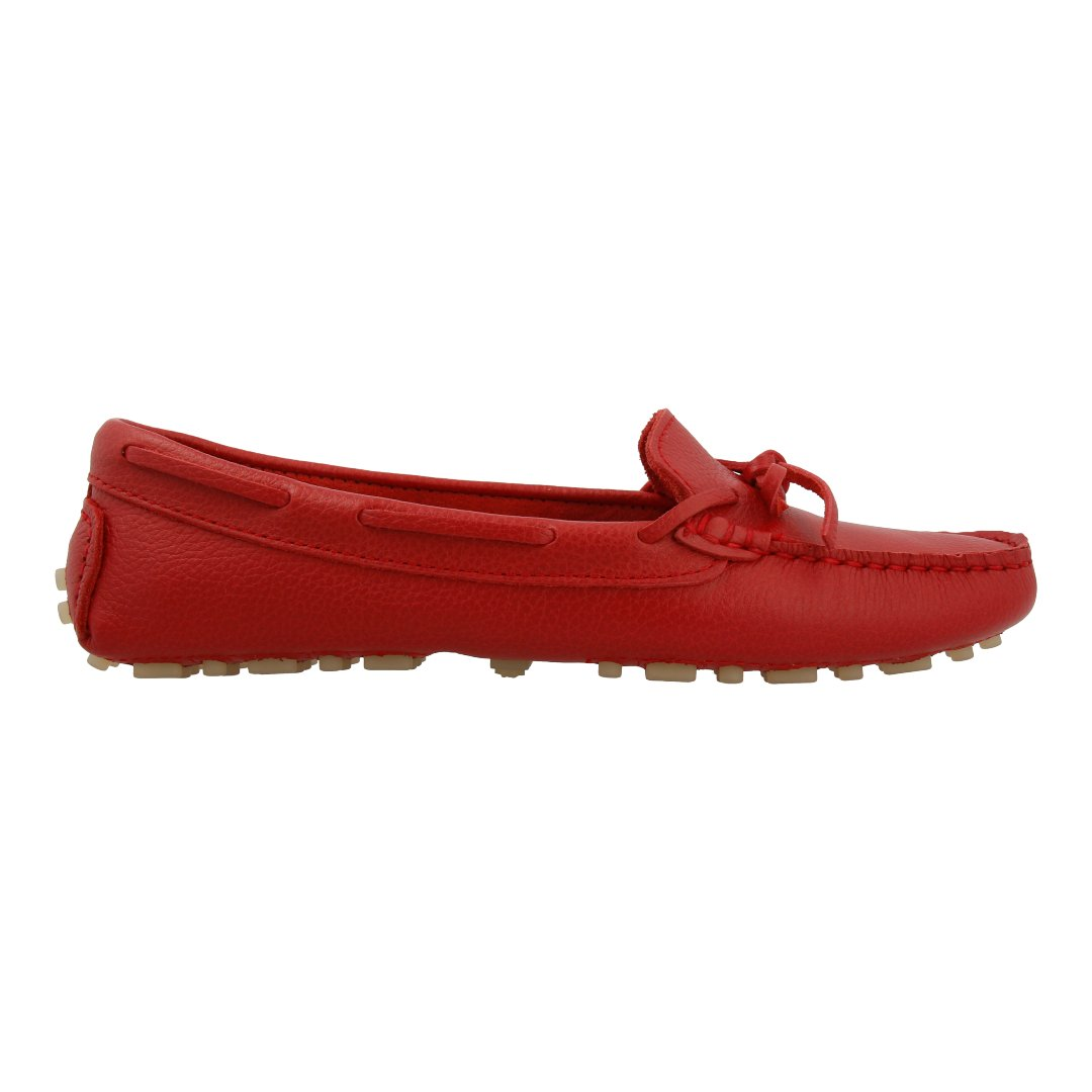 Leather Loafer with Bow (Red)
