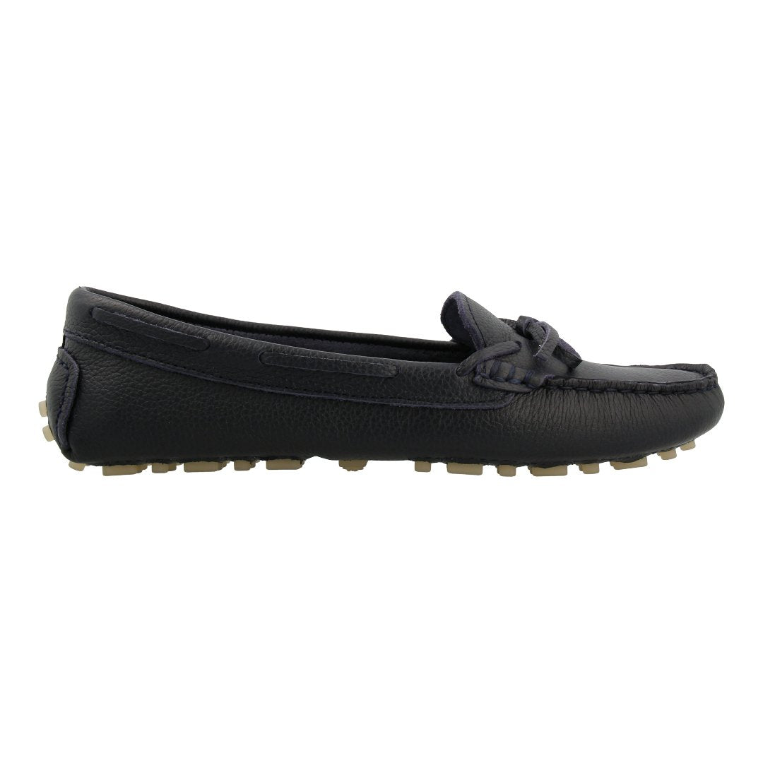 Leather Loafer with Bow (Navy)
