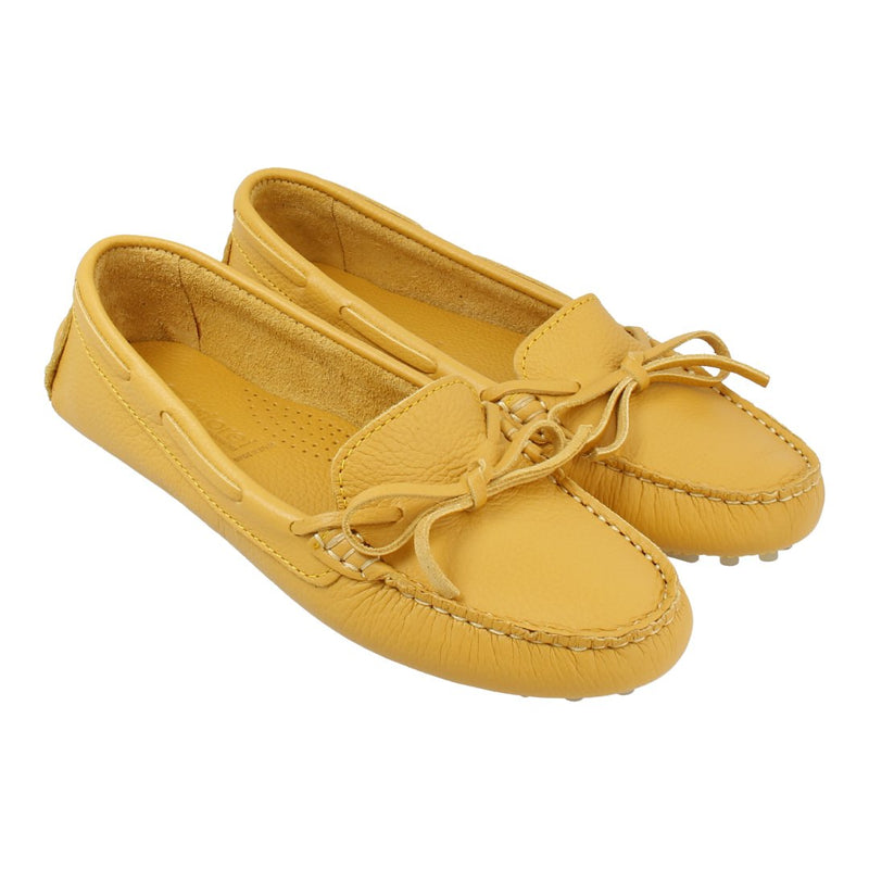 Leather Loafer with Bow (Yellow)