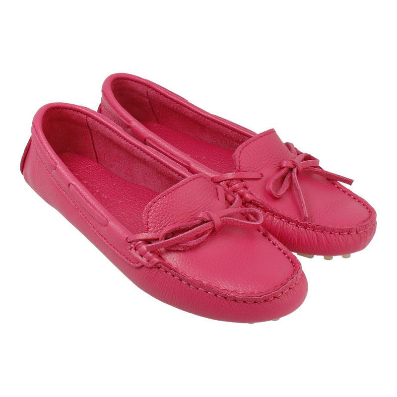 Leather Loafer with Bow (Magenta)