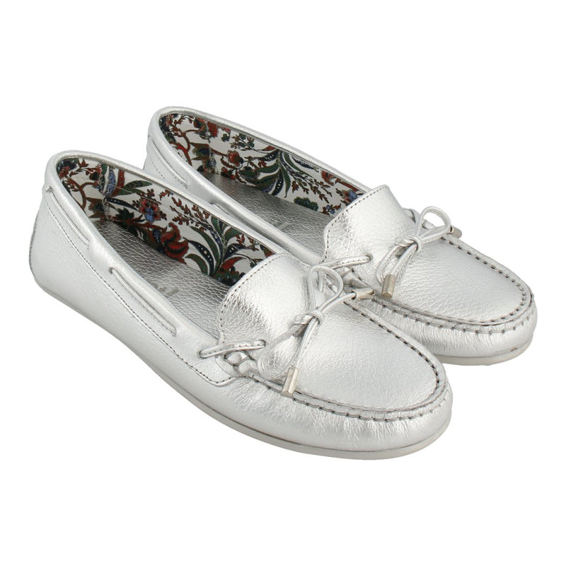 Limited Edition Floral Lining Loafer with Bow (Silver)