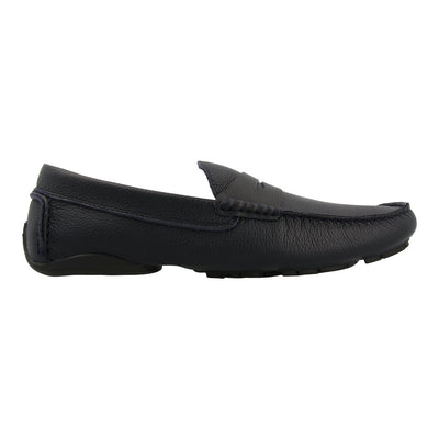 Leather Loafer with Penny Bar (Navy)