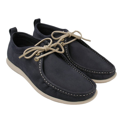 Leather Chukka Loafer with Lace-up Front (Navy)