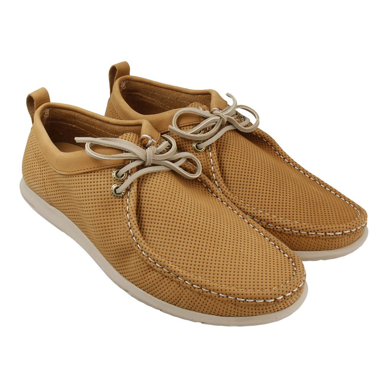 Leather Chukka Loafer with Lace-up Front (Khaki)