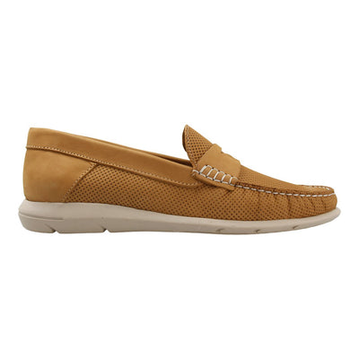 Leather Loafer with Penny Bar (Khaki)