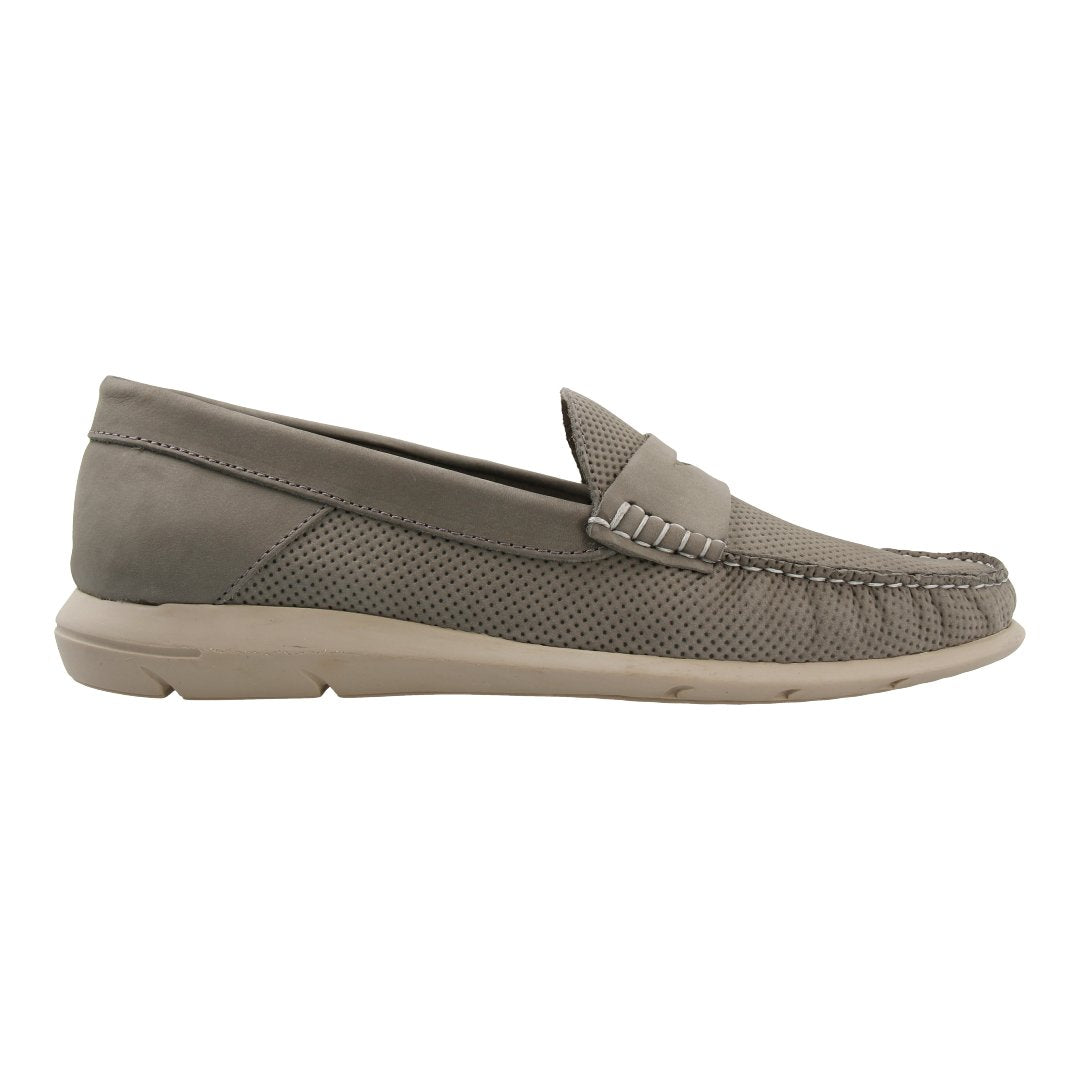 Leather Loafer with Penny Bar (Grey)