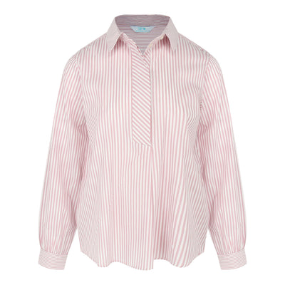Long Sleeve Stripe Shirt (Dusty Pink/White)