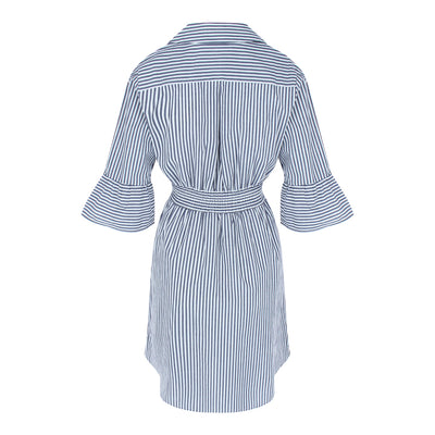 Flutter Sleeve Stripe Dress (Navy/White)