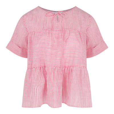 Short Sleeve Tiered Top (Pink/White)