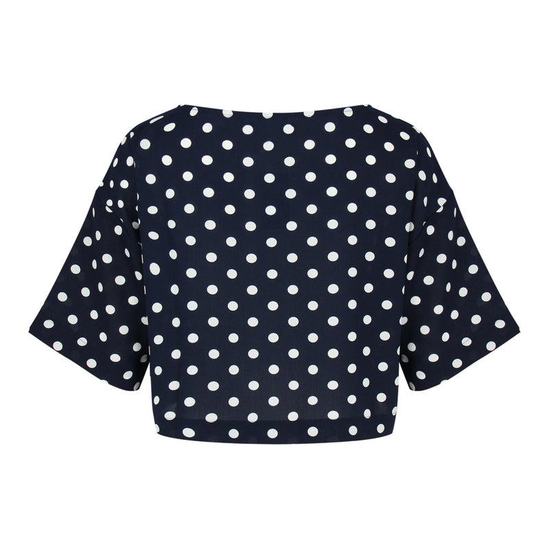Dots Print Crop Top (Navy/White Dots)