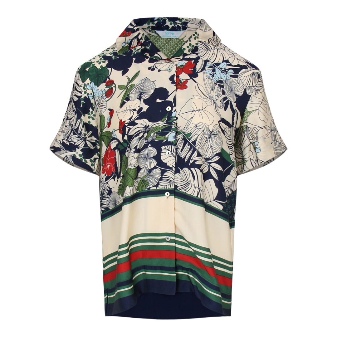 Tropical Print Shirt (Navy/Beige)
