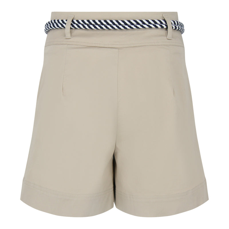 Pleated Shorts With Belt (Beige)