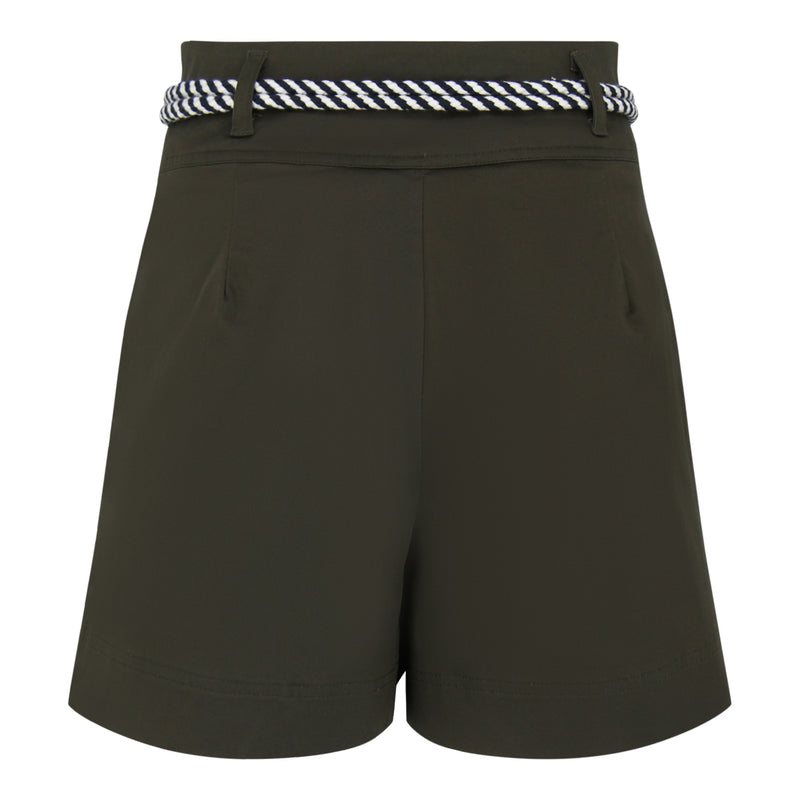 Pleated Shorts With Belt (Olive Green)
