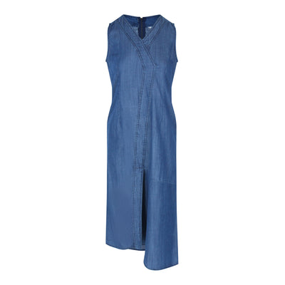 Sleeveless Chambray Dress (Dark Denim)