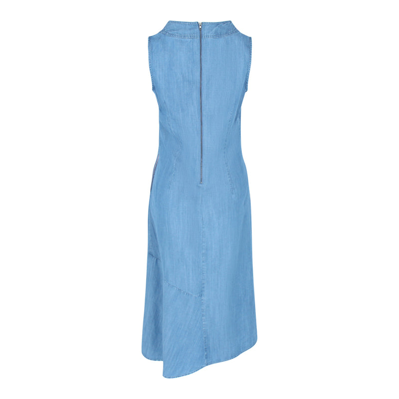 Sleeveless Chambray Dress (Light Denim)