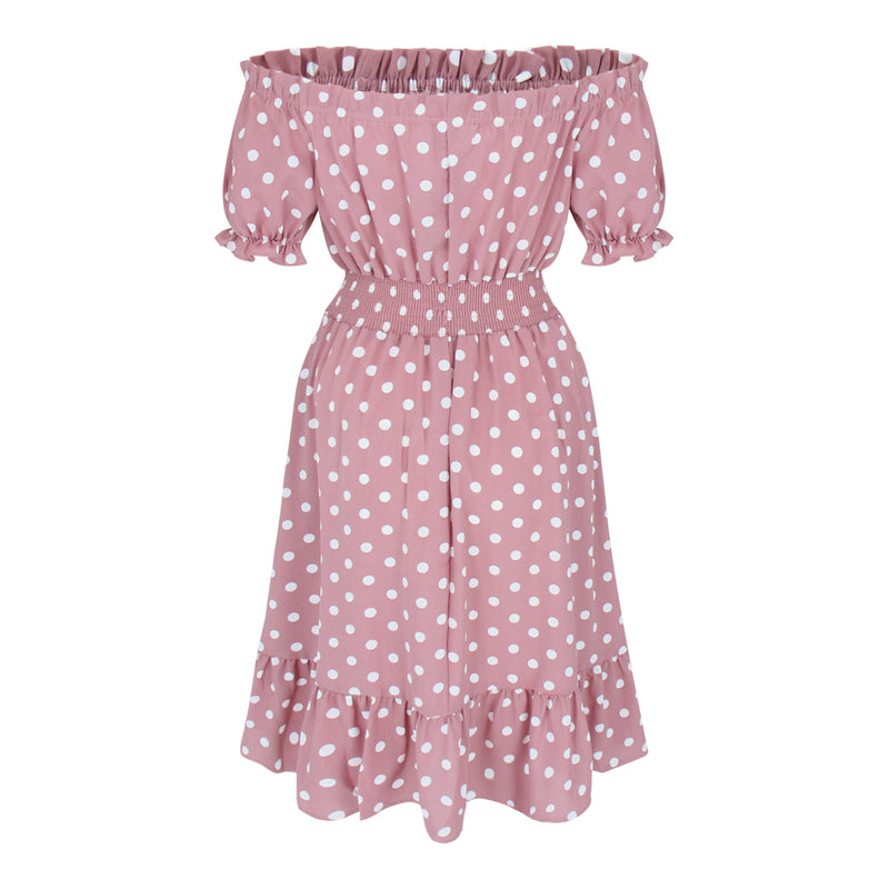 Off Shoulder Dot Dress (Dusty Pink/White Dots)