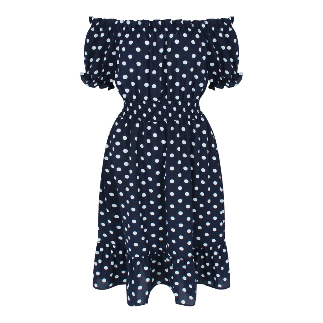 Off Shoulder Dot Dress (Navy/White Dots)