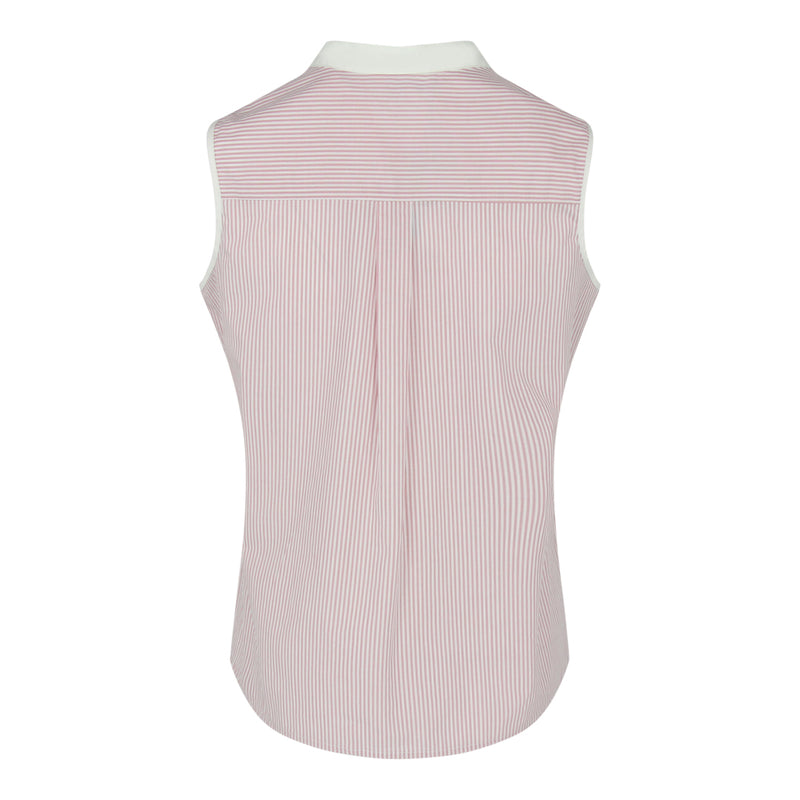 Sleeveless Stripe Shirt ( Dusty Pink/White)