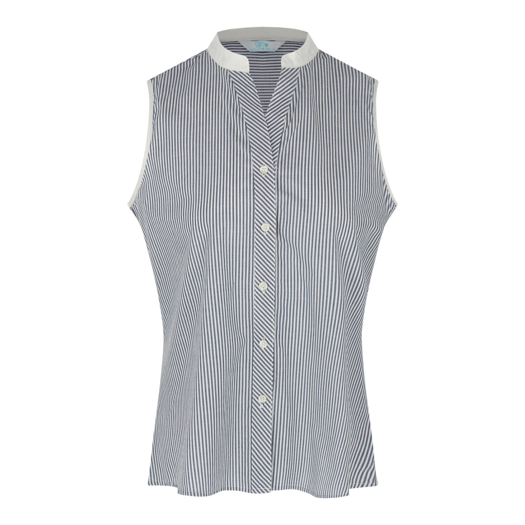 Sleeveless Stripe Shirt (Navy/White)