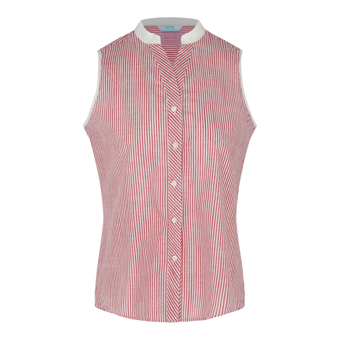 Sleeveless Stripe Shirt (Red/White)