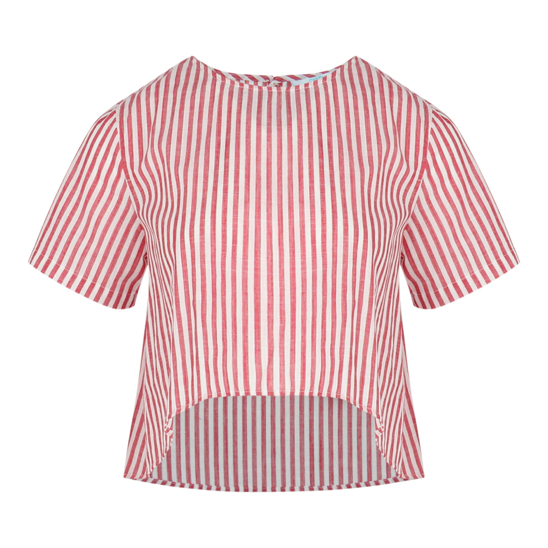 Stripe High Low Top (Red/White)