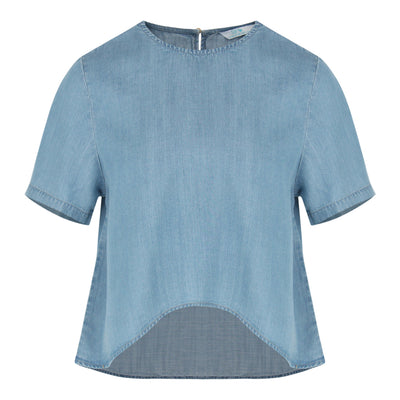 Chambray High Low Top (Light Denim)