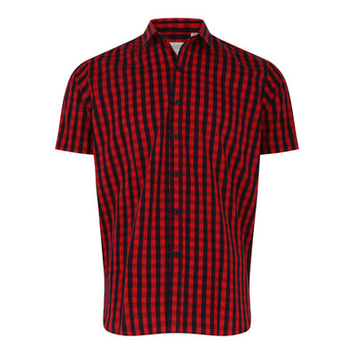 Short Sleeve Checked Shirt in Red