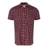 Short Sleeve Checked Shirt  in Navy