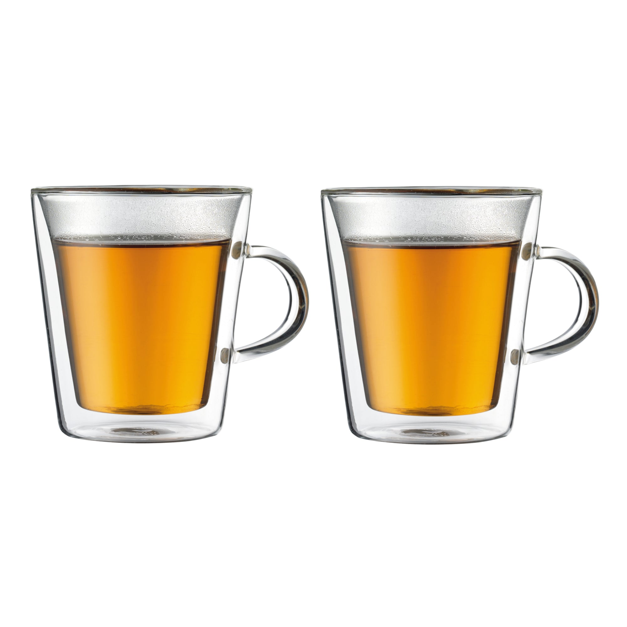 Canteen Double Wall Glass With Handle, Set Of 2