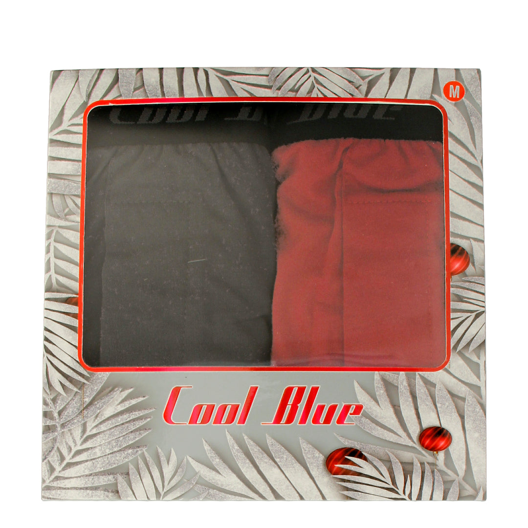 100% Cotton Trunks 2-PC (Grey/Red)