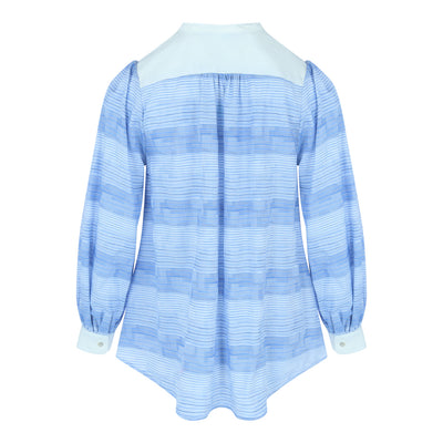 Longsleeve Stand Collar Top (Blue/White Stripes)