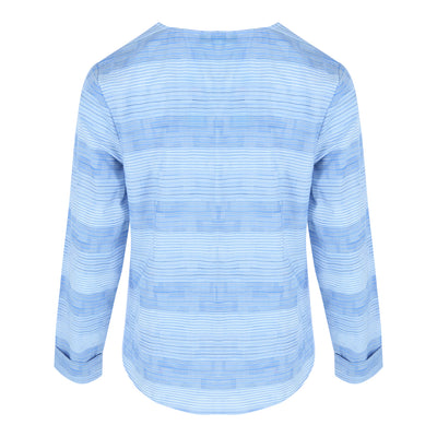 Longsleeve Button Front Top (Blue/White Stripes)