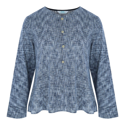 Longsleeve Button Front Top (Navy Weave)