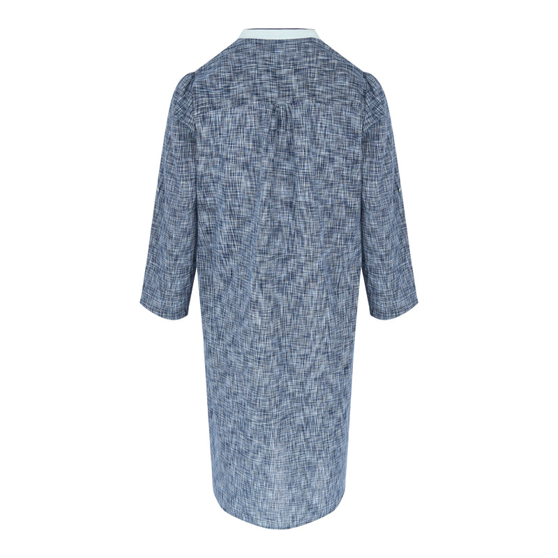 Longsleeve Button A Line Dress (Navy Weave)