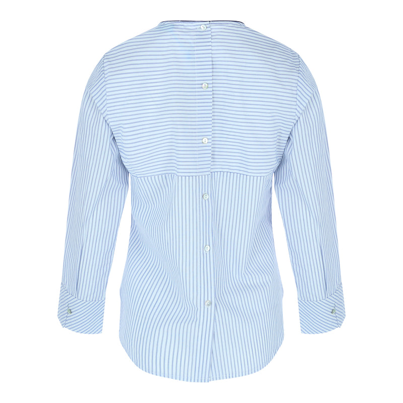 Longsleeve Back Button Top (Blue/White Stripes)